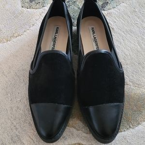 Karl Lagerfeld Black Suede Leather Slip-on Shoes